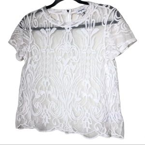 True Religion White Short Sleeve Embroidered Top